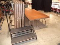 (5) Sections of HD Wood Portable Stage with Stairs & Cart, (VERY HEAVY),