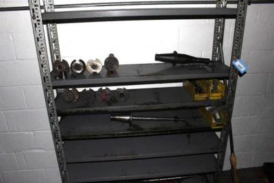 Metal Shelving Unit with Contents of Tool Holders, Arbors & Cutters