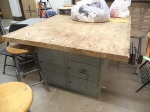 "Maple Top Worktable w/ Steel Storage Cabinet Base & Wood Workers Bench Vise, 54"" x 64"" x 2"" Thick"