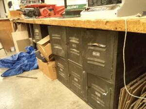 "(2) Maple Top Worktables,(EMPTY), 54"" x 32"" x 2"", w/ Metal Locker Bases"