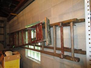 (1) Wood Stepladder, (1) Extension Ladder