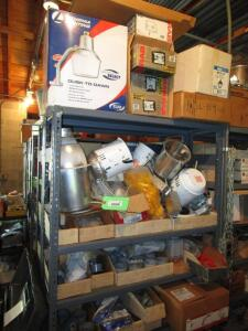 Contents of 2 Shelving Units of Electrical Contractor Supplies, RACK NOT INCLUDED!