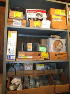 Contents of 1 Shelving Unit of Electrical Contractor Supplies, RACK NOT INCLUDED!