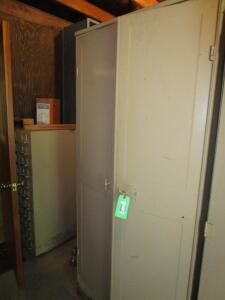 6' Metal 2-Door Storage Cabinet with Contents of Large Variety of Light Bulbs