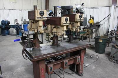 Clausing 1635 Gang Drill, SN: 123140, 3-Spindle, Oil Groove Table