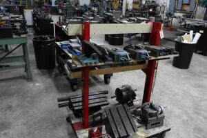 Fixture Cart with Contents of Rotary Chucks, Angle Plates, T-Slotted Table & Machinist Vises