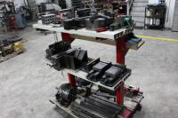 Fixture Cart with Contents of Rotary Chucks, Angle Plates, T-Slotted Table & Machinist Vises - 2