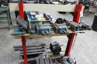 Fixture Cart with Contents of Rotary Chucks, Angle Plates, T-Slotted Table & Machinist Vises - 4