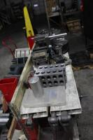 Fixture Cart with Contents of Rotary Chucks, Angle Plates, T-Slotted Table & Machinist Vises - 6