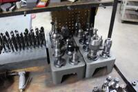 Set-Up Bench with Contents of (4) Machinist Vises, Tool Holders, Cutters, Drills & Bench Vise - 10