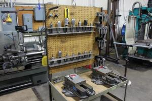 Set-Up Bench on Casters with Contents of Collets, (2) Machinist Vises, Tool Holders & Cutters
