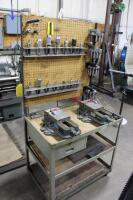 Set-Up Bench on Casters with Contents of Collets, (2) Machinist Vises, Tool Holders & Cutters - 2