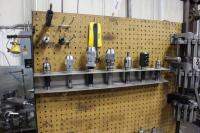 Set-Up Bench on Casters with Contents of Collets, (2) Machinist Vises, Tool Holders & Cutters - 4