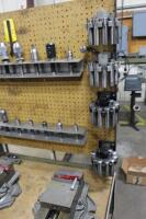 Set-Up Bench on Casters with Contents of Collets, (2) Machinist Vises, Tool Holders & Cutters - 5