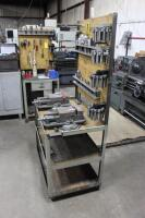 Set-Up Bench on Casters with Contents of Collets, (2) Machinist Vises, Tool Holders & Cutters - 6