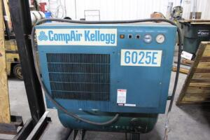 CompAir Kellogg 6025E Rotary Screw Air Compressor with Horizontal Tank, 25HP,