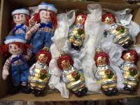 Lot of Raggedy Ann, Sesame Street & Rudolph Hanging Ornaments