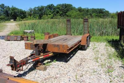 Redi Haul Tandem Axle Equipment Trailer, 14' Main Deck, 3' Tail, Fold Down Ramps, Pintle Ring